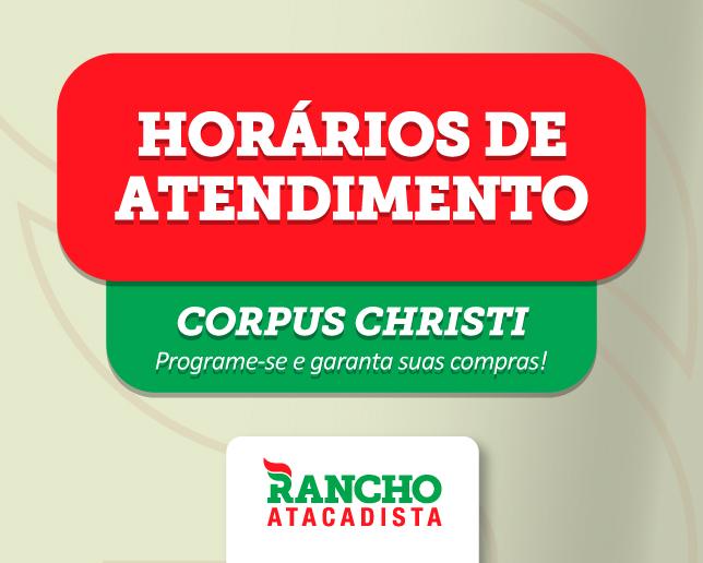 Confira os horários de funcionamento no feriado de Corpus Christi.
