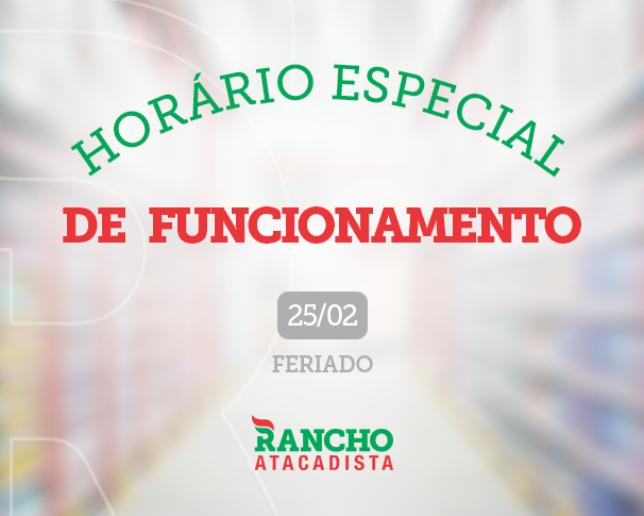 HORÁRIO ESPECIAL DE FUNCIONAMENTO NA TERÇA DE CARNAVAL